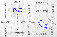 BE concept written on white puzzle, jigsaw Stock Photos
