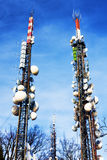 Be connect : Telecommunications tower. Telecommunications tower in blue sky Royalty Free Stock Image