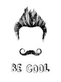 Be cool hand drawn poster. Be cool black and white hand drawn poster Royalty Free Stock Image