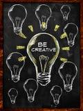 Be Creative Bulb Light. Put Text Stock Photos