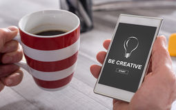 Be creative concept on a smartphone Royalty Free Stock Photography