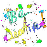 Be creative  Greeting card colorful. With ink drops isolated Royalty Free Stock Images