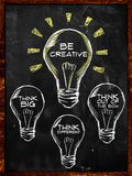 Be creative, Think big and different. On blackboard Royalty Free Stock Images