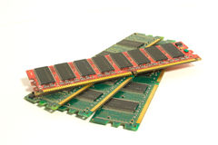Be different. One red RAM module on the green modules Stock Photo