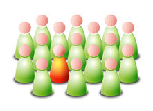 Be different. Vector isolated green group of persons with one different red person on white background with vector illustration