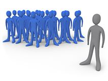 Be Different. Person standing out of the crowd vector illustration