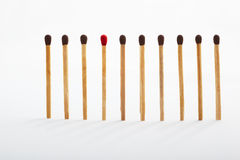 Be different. A different color match in between the same color tip matches group Stock Photography