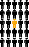 Be different. Image shows a particularly outstanding figure right in the middle, gives the idea of being the different one royalty free illustration