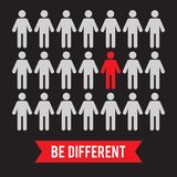 Be different creative consept in flat cartoon style on black bac vector illustration