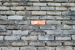Be Different. The only one red brick among all concrete bricks Royalty Free Stock Photo