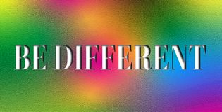 Dare to be different, ability and competence. rainbow texture. Be different from others and standing out from crowd. Competence and concept royalty free stock photography