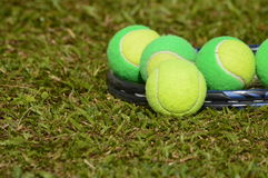 Be different player in tennis. A tennis ball, solid, poses with several balls used in children's tennis training, which are of two colors. The background of the royalty free stock image