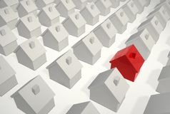 Be Different-Single Red House. A red house among many white ones to visualize being different Royalty Free Stock Photos