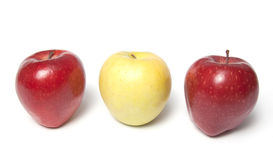 Be different - three red and yellow apples Stock Photography