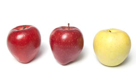 Be different - three red and yellow apples Stock Image
