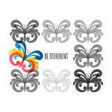 Be different, vector illustration. Grey and colorful butterflies Royalty Free Stock Photo