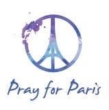 Be för den Paris —illustrationen av ett symbol med att be händer, Eiffeltorn och symbolet för fred stock illustrationer
