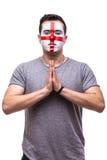 Be för England Engelsmanfotbollsfan ber för det modiga England landslaget Arkivbilder