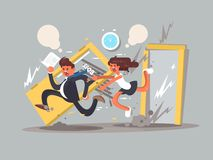 Be first concept. Man running fast in front emotional girl. Vector illustration Royalty Free Stock Images