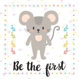 Be the first. Inspirational quote. Hand drawn lettering. Motivat Royalty Free Stock Images