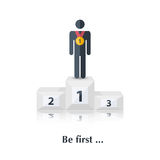Be first. Vector  black  people icon,pictogram.Concept first place,winner, medal, award, competition,over white with text Be first,in flat stile Royalty Free Stock Photo