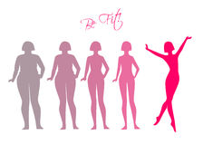 Be fit, woman silhouette images. Vector illustration of Be fit, woman silhouette images Stock Photography