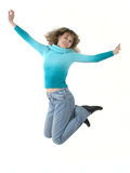 Be free!. Young girl jumping and smiling. White background Royalty Free Stock Image