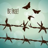 Be free! barbed wire turning into butterflies. Conceptual illustration of barbed wire turning into butterflies Royalty Free Stock Photos