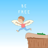 Be free - cute cartoon character with open arms with wings - the concept of freedom and creativity. Jump off a cliff Royalty Free Stock Photo