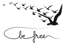 Free Be Free Text Flying Birds, Vector Stock Image - 35182901