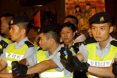 Be frightened. Police be  frightened so used pepper spray of Hong Kong 1 July marches 2/7/2011 Stock Images