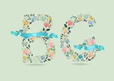 Be Good. Floral Letters with Blue Ribbons Stock Photo