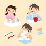 Be a good kid. Brushing teeth, washing hands and face stock illustration
