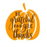 Be grateful and give thanks. Gratitude hand lettering quote and orange pumpkin isolated on white background. Handwritten thankfulness phrase Stock Photography