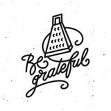 Be grateful kitchen quote typography print. Vector vintage illustration. vector illustration