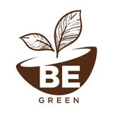 Be green ecology and biodiversity protection monochrome sketch outline. Vector isolated logotype with text pot and fresh plant growing from ground nature royalty free illustration