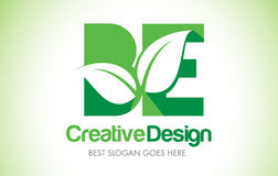 BE Green Leaf Letter Design Logo. Eco Bio Leaf Letter Icon Illus Stock Photo