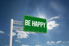 Be happy against cloudy sky with sunshine Stock Images