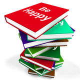 Be Happy Book Means Advice on Being Happier Royalty Free Stock Photos