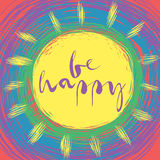 Be happy card. Be happy! Greeting inspirational card with doodle sun and rainbow Stock Photos