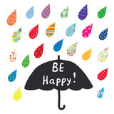 Be happy card with umbrella and color rain. Graphic illustration Royalty Free Stock Photos