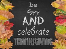 Be happy and celebrate thanksgiving like design poster with autumn Royalty Free Stock Photography