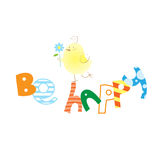 Be happy. Children's card with cute cartoon chicken and an inscription Be happy Royalty Free Stock Photos