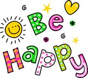 Be Happy Clipart Text Royalty Free Stock Photos