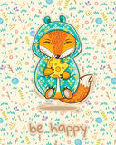 Be happy. Cute card with fox and slice of cheese. Royalty Free Stock Images