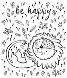 Be happy. Cute lion cartoon vector illustration. Cartoon character playful lion. Black and white vector illustration. Funny cartoon lion vector print with text Royalty Free Stock Photo