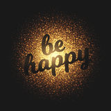 Be Happy Golden Glowing Particles Vector Background Stock Photo