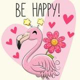Be Happy Greeting card with Cartoon Flamingo. Be Happy Greeting card with cute Cartoon Flamingo stock illustration