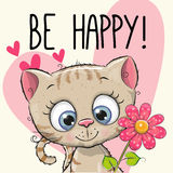 Be Happy Greeting card. Kitten with hearts and a flower