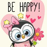 Be Happy Greeting card Penguin with hearts. And a flower stock illustration